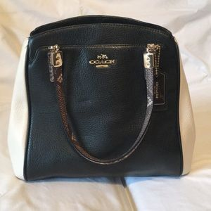 White & Black Coach Tote Purse